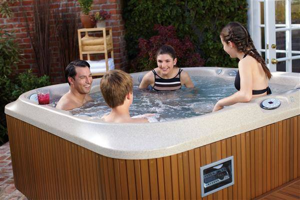 family time in a hot tub
