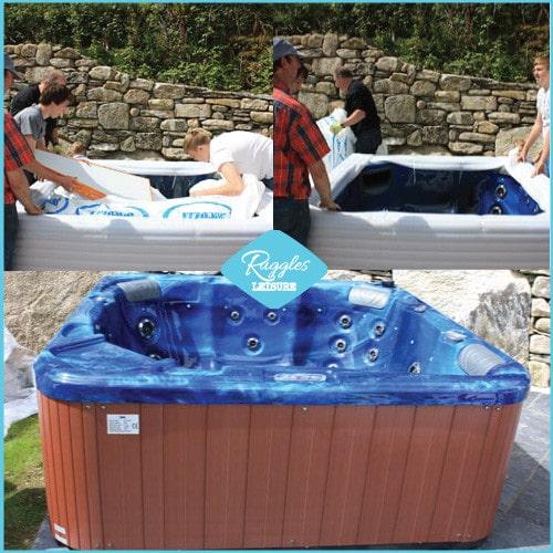 Unwrapped hot tub