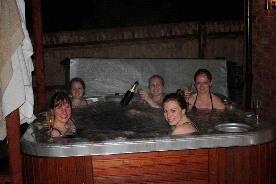 Friends in the hot tub.